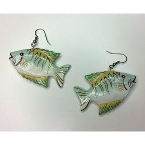 Lightweight Wood Painted Fish Earrings